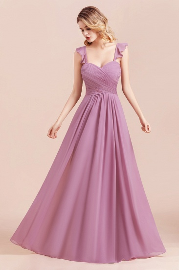 BMbridal Glamorous Sweetheart Ruffle Wisteria Chiffon Bridesmaid Dresses Affordable_7