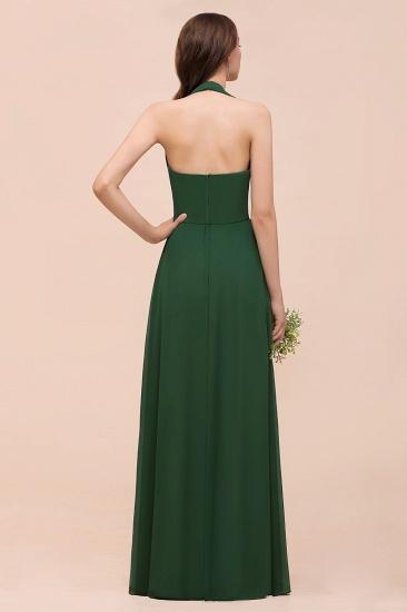 BMbridal Affordable Halter Beading Ruffle Dark Green Bridesmaid Dress With Shawl_3
