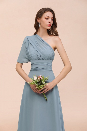 New Arrival Dusty Blue Ruched Long Convertible Bridesmaid Dresses_60