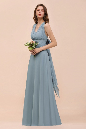 New Arrival Dusty Blue Ruched Long Convertible Bridesmaid Dresses_53
