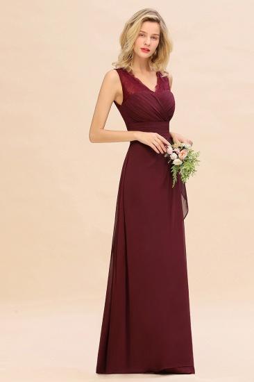 BMbridal Elegant Lace V-Neck Burgundy Chiffon Bridesmaid Dresses with Ruffle_4