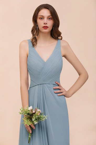 Elegant V-Neck Ruffle Dusty Blue Chiffon Bridesmaid Dresses Online_4