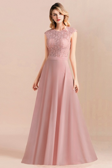 Elegant A-Line Sleeveless Dusty Rose Lace Bridesmaid Dress Online_4
