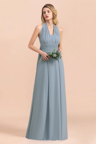 Affordable Dusty Blue Ruffle Convertible Bridemsiad Dress_6