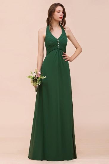 BMbridal Affordable Halter Beading Ruffle Dark Green Bridesmaid Dress With Shawl_7
