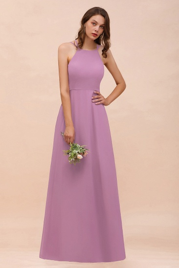 Gorgeous Halter Wisteria Chiffon Bridesmaid Dresses with Draped Back_6