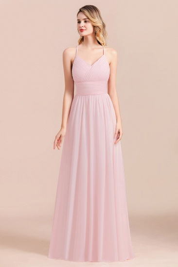 Gorgeous Spaghetti Straps Ruffle Pink Chiffon Bridesmaid Dress Cheap_1