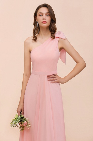 Chic One Shoulder Sleeveless Pink Chiffon Bridesmaid Dress with Bow_9