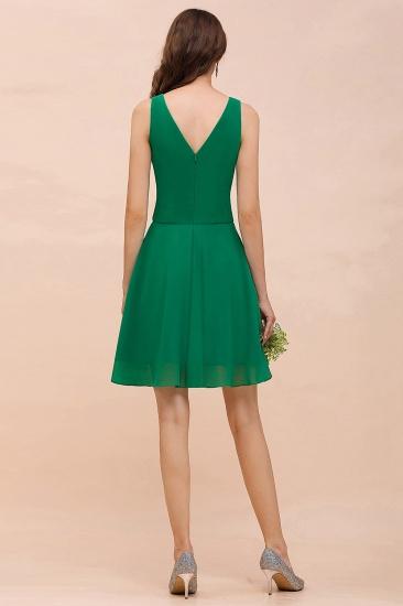 Affordable V-Neck Sleeveless Ruffle Short Bridesmaid Dress_3