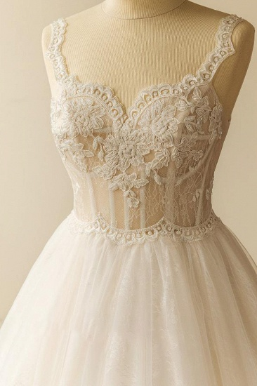 Gorgeous Straps Sleeveless Tulle Wedding Dresses A-line Appliques Lace Bridal Gowns On Sale_4