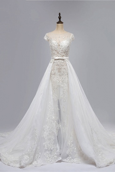BMbridal Glamorous Shortsleeves Jewel Appliques Wedding Dresses A-line Tulle Lace Bridal Gowns On Sale_1