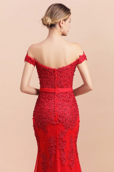 Elegant Mermaid Off the Shoulder Red Lace Appliques Bridesmaid dresses_9