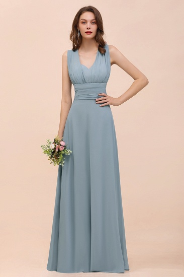New Arrival Dusty Blue Ruched Long Convertible Bridesmaid Dresses_51