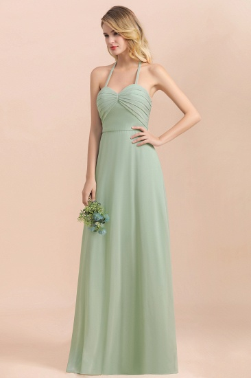 Affordable Halter Sweetheart Chiffon Dusty Sage Bridesmaid Dresses_8
