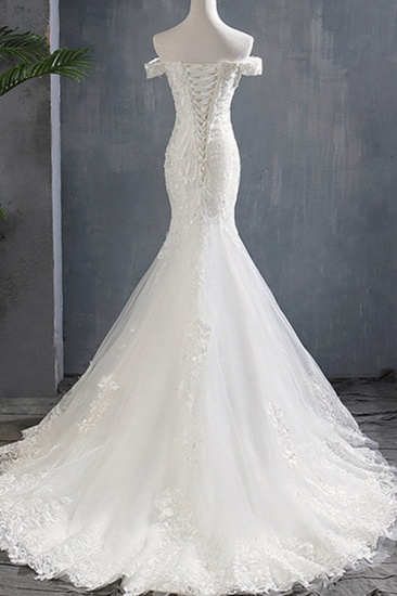 BMbridal Glamorous Off-the-shoulder Mermaid Appliques Wedding Dresses Lace Tulle White Bridal Gowns On Sale_3