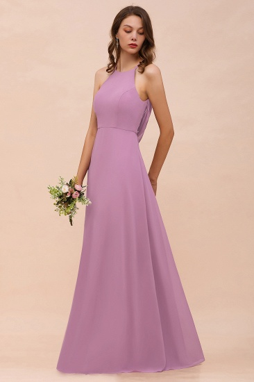 Gorgeous Halter Wisteria Chiffon Bridesmaid Dresses with Draped Back_9