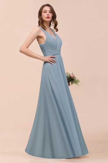 Elegant V-Neck Ruffle Dusty Blue Chiffon Bridesmaid Dresses Online_7
