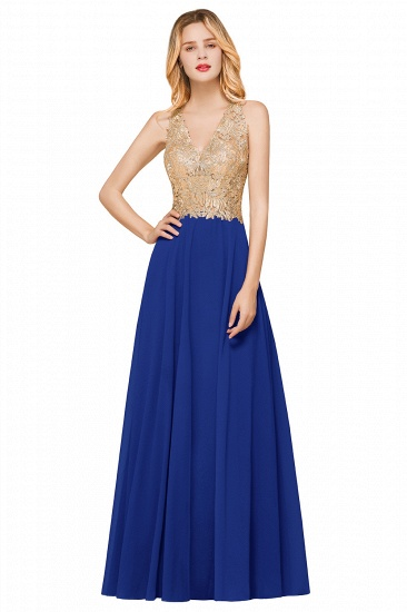BMbridal Gorgeous V-Neck Burgundy Prom Dress Long Sleeveless Evening Gowns With Appliques_4