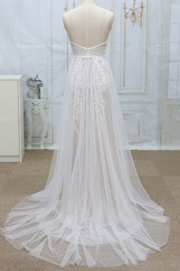 Sexy V-neck Straps Sleeveless Wedding Dresses Lace Appliques Tulle Bridal Gowns On Sale_3