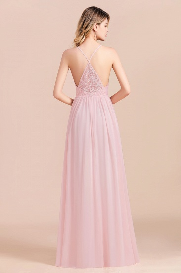 Gorgeous Spaghetti Straps Ruffle Pink Chiffon Bridesmaid Dress Cheap_3