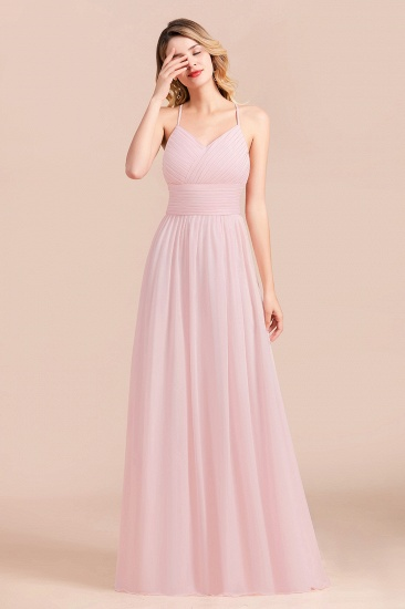Gorgeous Spaghetti Straps Ruffle Pink Chiffon Bridesmaid Dress Cheap_7