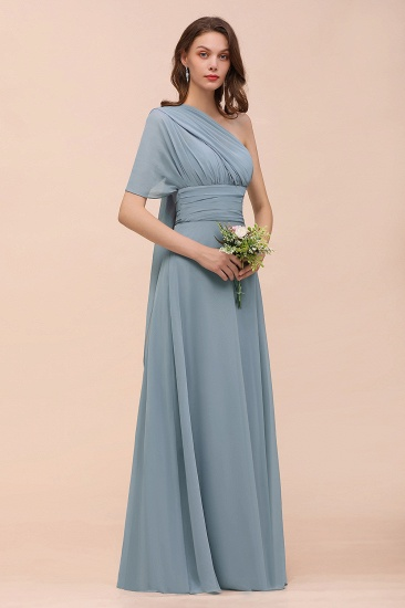 New Arrival Dusty Blue Ruched Long Convertible Bridesmaid Dresses_61