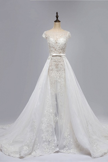 BMbridal Glamorous Shortsleeves Jewel Appliques Wedding Dresses A-line Tulle Lace Bridal Gowns On Sale_5