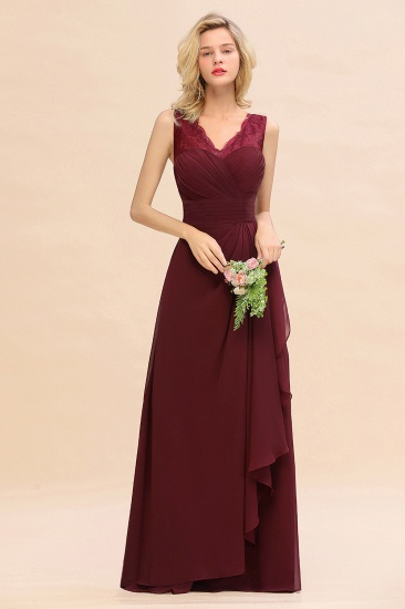 BMbridal Elegant Lace V-Neck Burgundy Chiffon Bridesmaid Dresses with Ruffle_1