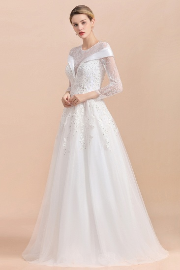 Gorgeous Long Sleeve Lace Wedding Dress Online Appliques Bridal Gowns With Beadings_6