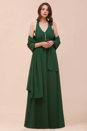Affordable Halter Beading Ruffle Dark Green Bridesmaid Dress With Shawl