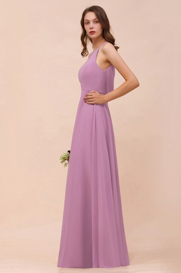 Gorgeous Halter Wisteria Chiffon Bridesmaid Dresses with Draped Back_7
