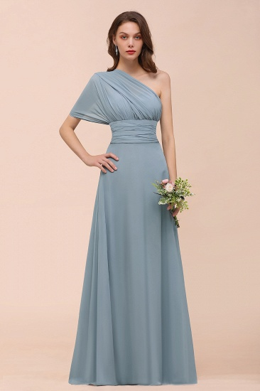 New Arrival Dusty Blue Ruched Long Convertible Bridesmaid Dresses_59