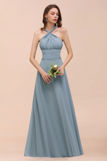 New Arrival Dusty Blue Ruched Long Convertible Bridesmaid Dresses_64