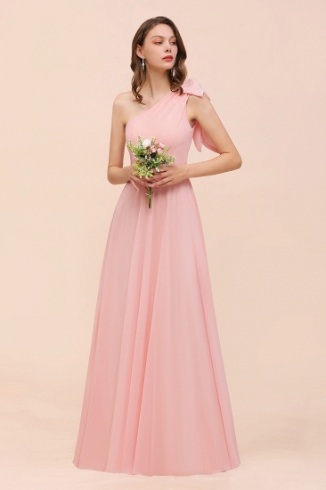 Chic One Shoulder Sleeveless Pink Chiffon Bridesmaid Dress with Bow_4