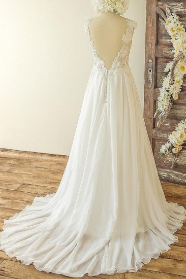 Chic Sleeveless Jewel Appliques Wedding Dresses A-line Chiffon Ruffles Bridal Gowns On Sale_3