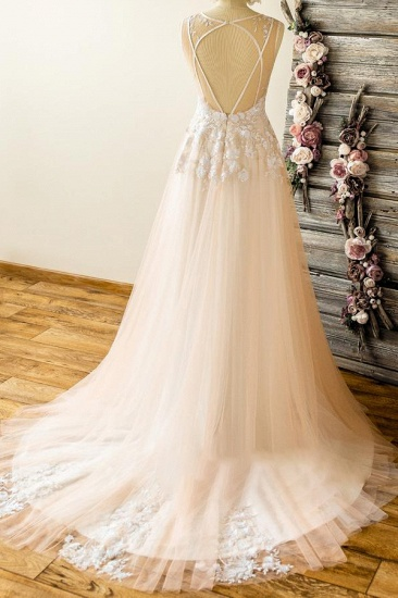 Affordable Straps V-neck Champagne Wedding Dresses A-line Applique Tuelle Bridal Gowns On Sale_3