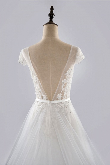 BMbridal Glamorous Shortsleeves Jewel Appliques Wedding Dresses A-line Tulle Lace Bridal Gowns On Sale_8