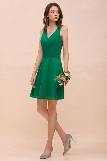 Affordable V-Neck Sleeveless Ruffle Short Bridesmaid Dress_6