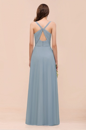 Elegant V-Neck Ruffle Dusty Blue Chiffon Bridesmaid Dresses Online_3