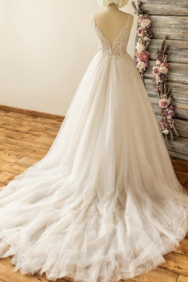Gorgeous Straps Sleeveless Tulle Wedding Dresses A-line Appliques Lace Bridal Gowns On Sale_3