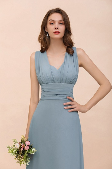 New Arrival Dusty Blue Ruched Long Convertible Bridesmaid Dresses_57