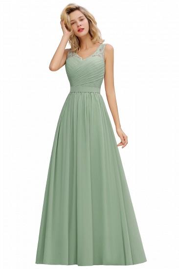BMbridal A-line Chiffon Lace V-Neck Ruffles Bridesmaid Dress_7