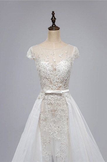 BMbridal Glamorous Shortsleeves Jewel Appliques Wedding Dresses A-line Tulle Lace Bridal Gowns On Sale_6