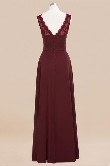 BMbridal Elegant Lace V-Neck Burgundy Chiffon Bridesmaid Dresses with Ruffle_11