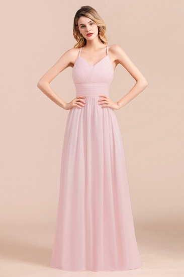 Gorgeous Spaghetti Straps Ruffle Pink Chiffon Bridesmaid Dress Cheap_8