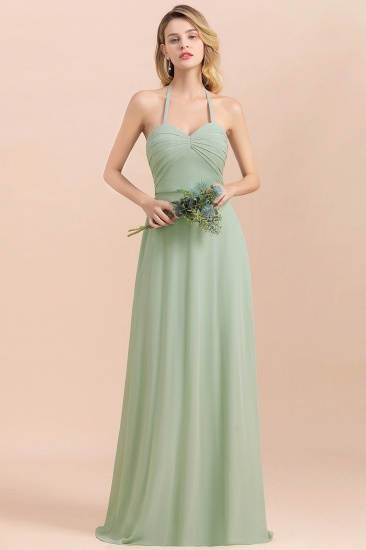 Affordable Halter Sweetheart Chiffon Dusty Sage Bridesmaid Dresses_7