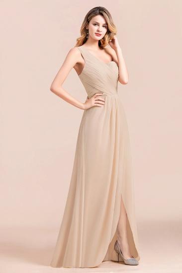 Chic One Shoulder Ruffle Champagne Chiffon Bridesmaid Dress_5