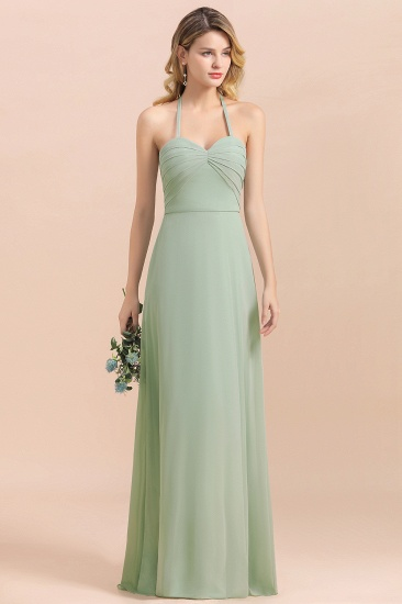 Affordable Halter Sweetheart Chiffon Dusty Sage Bridesmaid Dresses_5
