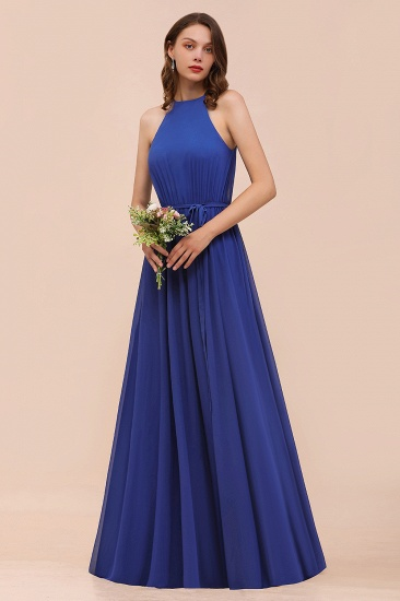 Gorgeous Affordable Chiffon Ruffle Royal Blue Bridesmaid Dress