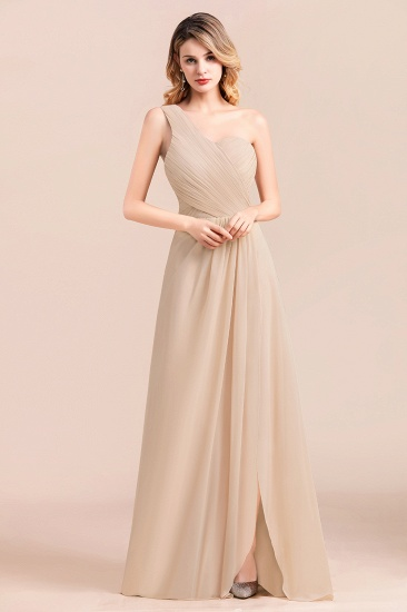 Chic One Shoulder Ruffle Champagne Chiffon Bridesmaid Dress_6
